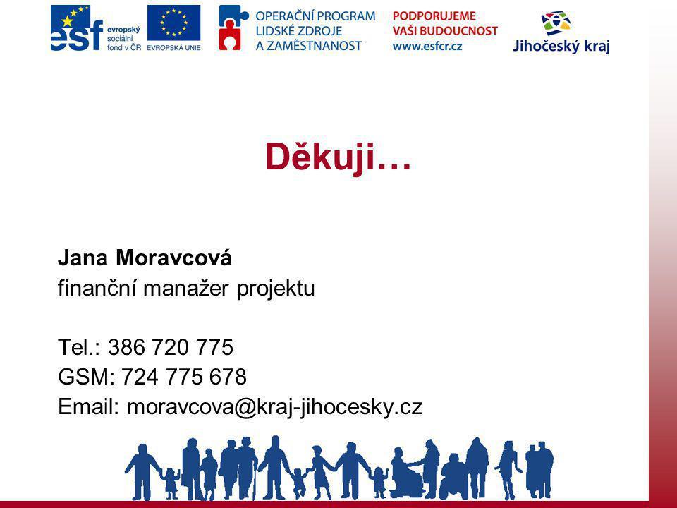 Děkuji… Jana Moravcová finanční manažer projektu Tel.: 386 720 775 GSM: 724 775 678 Email: moravcova@kraj-jihocesky.cz
