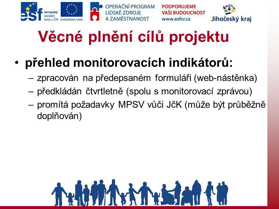 Věcné plnění cílů projektu přehled monitorovacích indikátorů: –zpracován na předepsaném formuláři (web-nástěnka) –předkládán čtvrtletně (spolu s monitorovací zprávou) –promítá požadavky MPSV vůči JčK (může být průběžně doplňován)