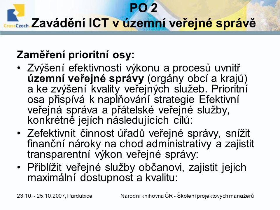 23.10. - 25.10.2007, Pardubice Národní knihovna ČR - Školení projektových manažerů PO 2 Zavádění ICT v územní veřejné správě Zaměření prioritní osy: Z