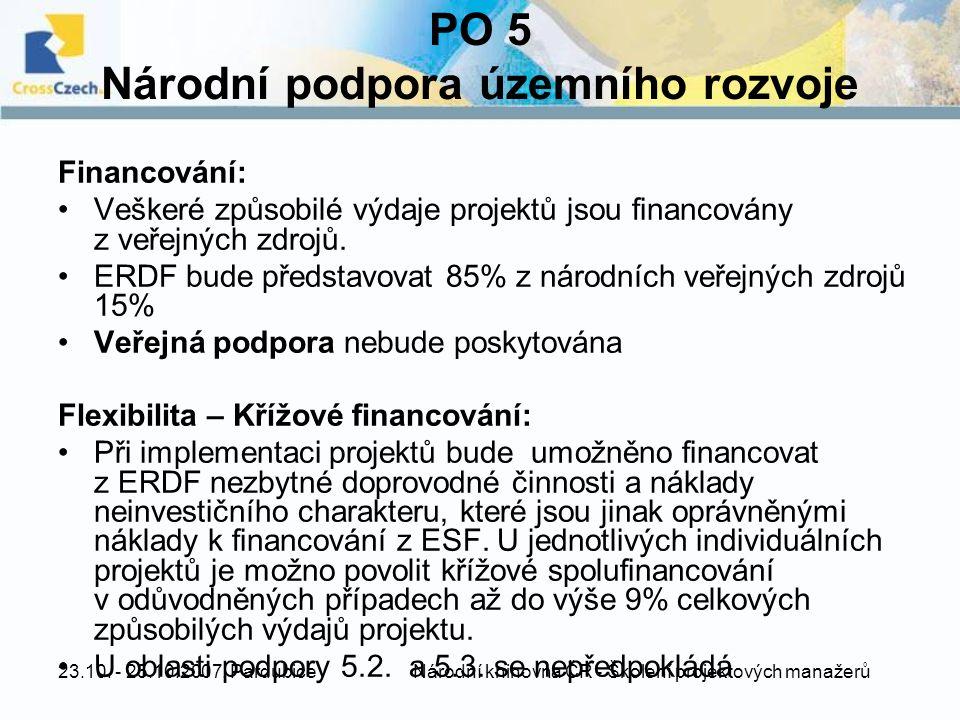 23.10. - 25.10.2007, Pardubice Národní knihovna ČR - Školení projektových manažerů PO 5 Národní podpora územního rozvoje Financování: Veškeré způsobil