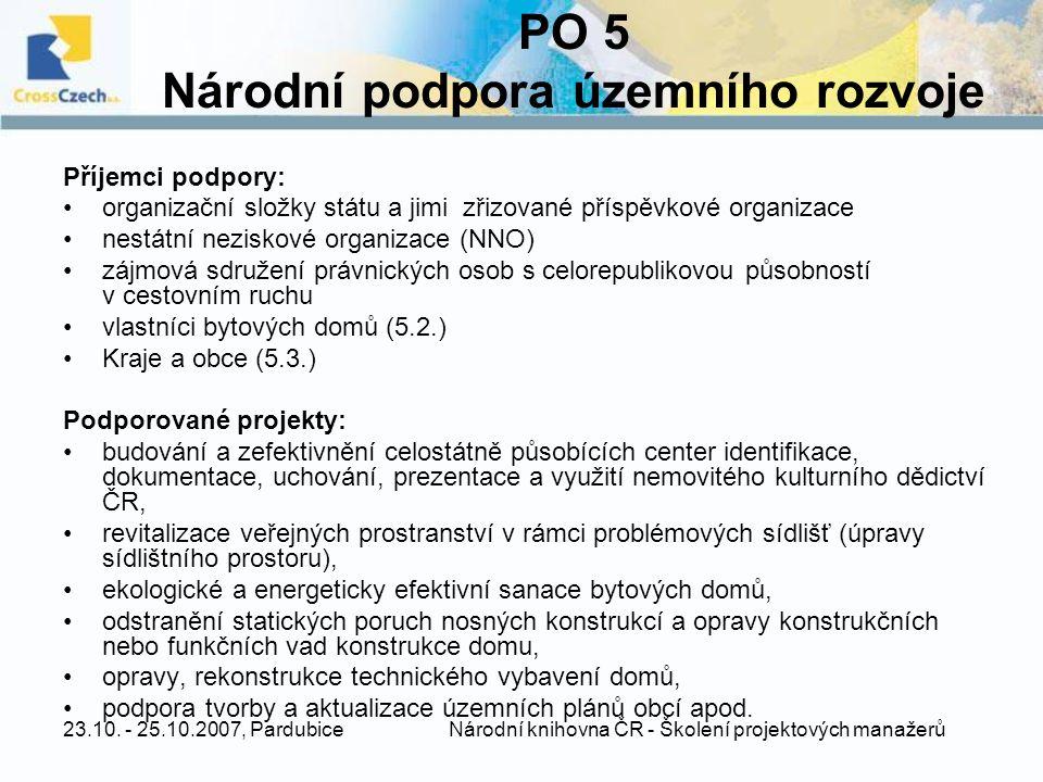 23.10. - 25.10.2007, Pardubice Národní knihovna ČR - Školení projektových manažerů PO 5 Národní podpora územního rozvoje Příjemci podpory: organizační