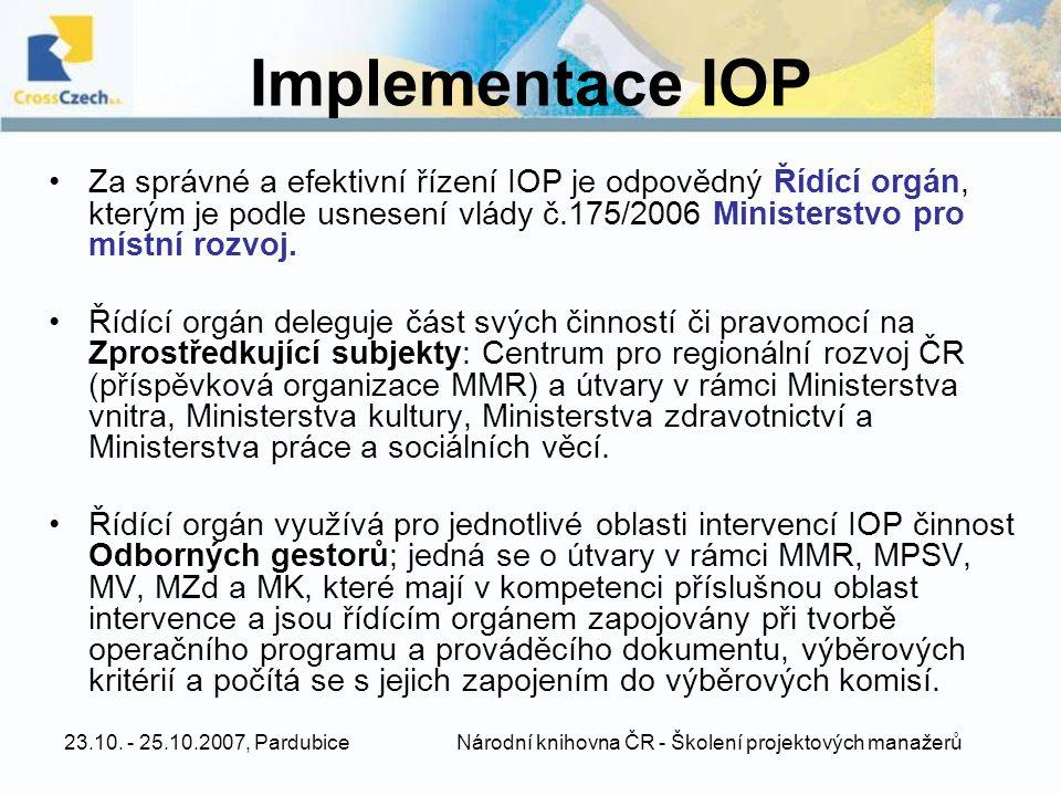 23.10. - 25.10.2007, Pardubice Národní knihovna ČR - Školení projektových manažerů Implementace IOP Za správné a efektivní řízení IOP je odpovědný Říd