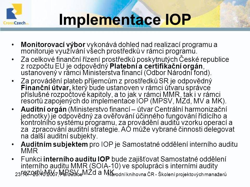 23.10. - 25.10.2007, Pardubice Národní knihovna ČR - Školení projektových manažerů Implementace IOP Monitorovací výbor vykonává dohled nad realizací p
