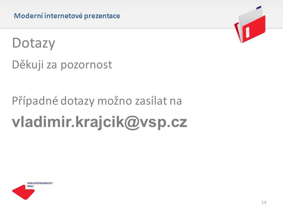 14 Dotazy Děkuji za pozornost Případné dotazy možno zasílat na vladimir.krajcik@vsp.cz Moderní internetové prezentace 14