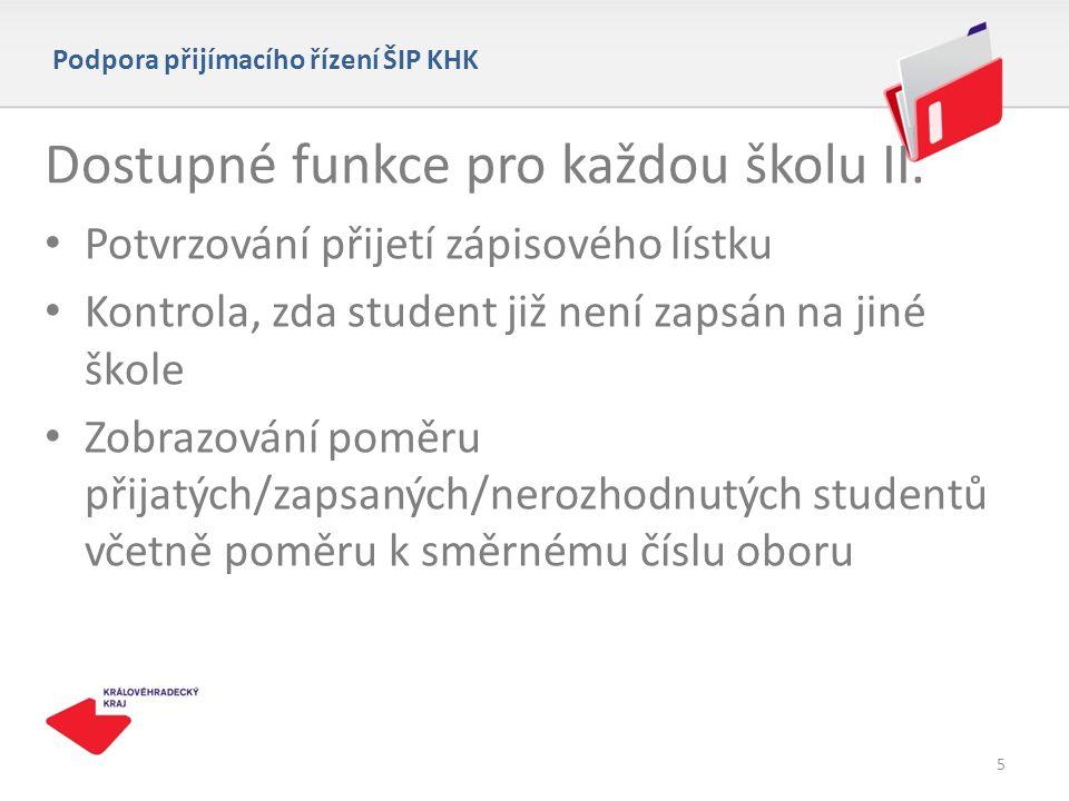 Dostupné funkce pro každou školu II.