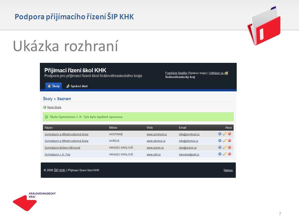 Ukázka rozhraní Podpora přijímacího řízení ŠIP KHK 7