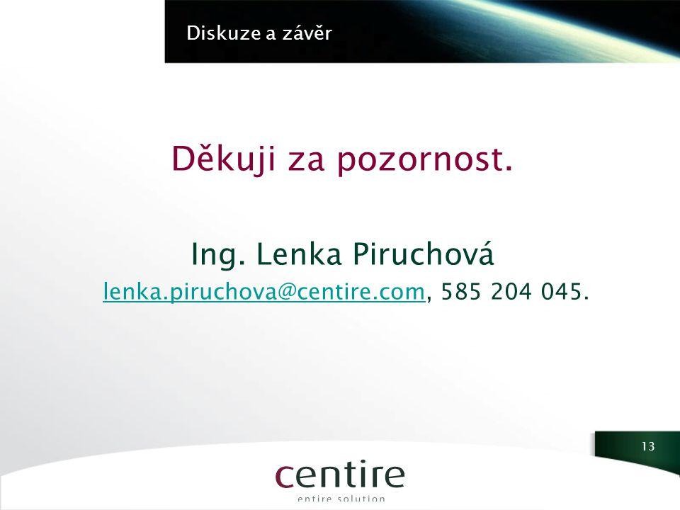 Diskuze a závěr Děkuji za pozornost. Ing.