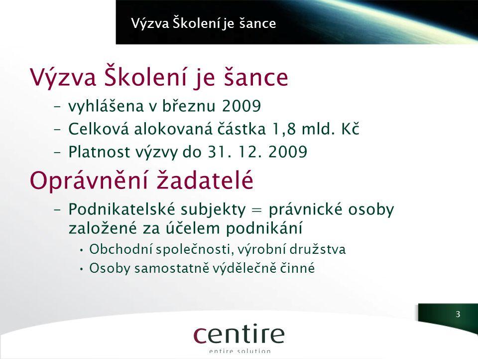 Výzva Školení je šance –vyhlášena v březnu 2009 –Celková alokovaná částka 1,8 mld.