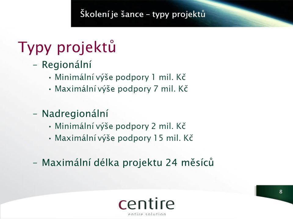 Školení je šance – typy projektů Typy projektů –Regionální Minimální výše podpory 1 mil.