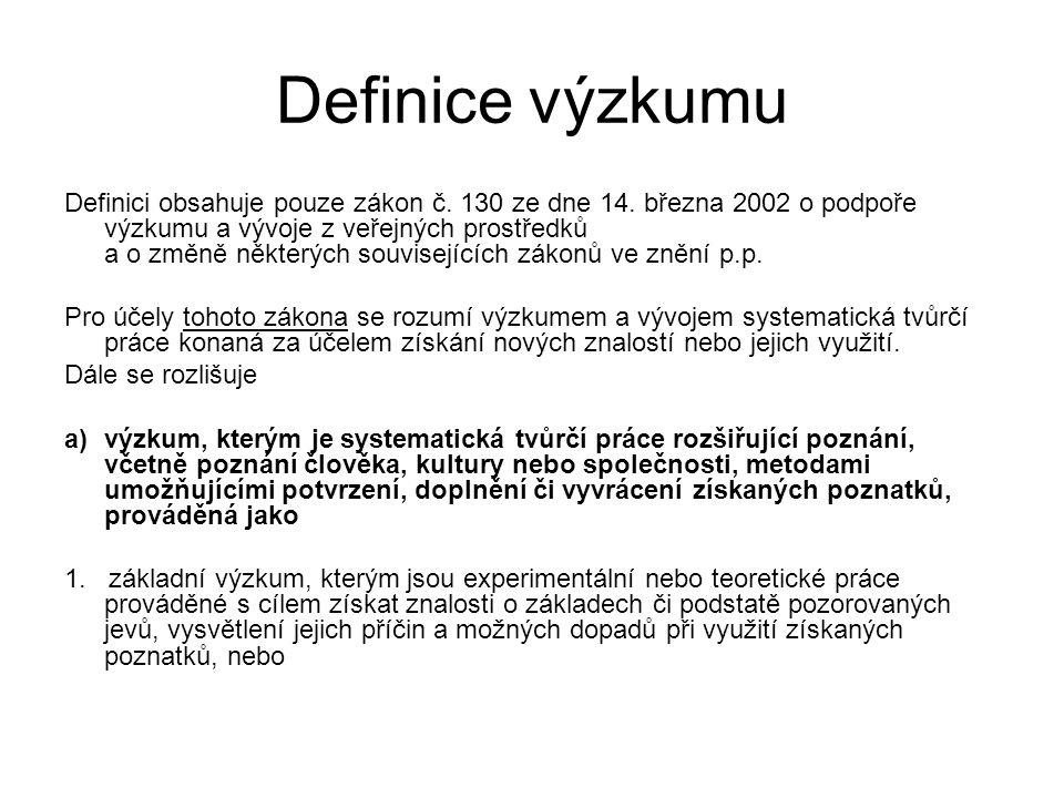 Definice výzkumu Definici obsahuje pouze zákon č. 130 ze dne 14. března 2002 o podpoře výzkumu a vývoje z veřejných prostředků a o změně některých sou
