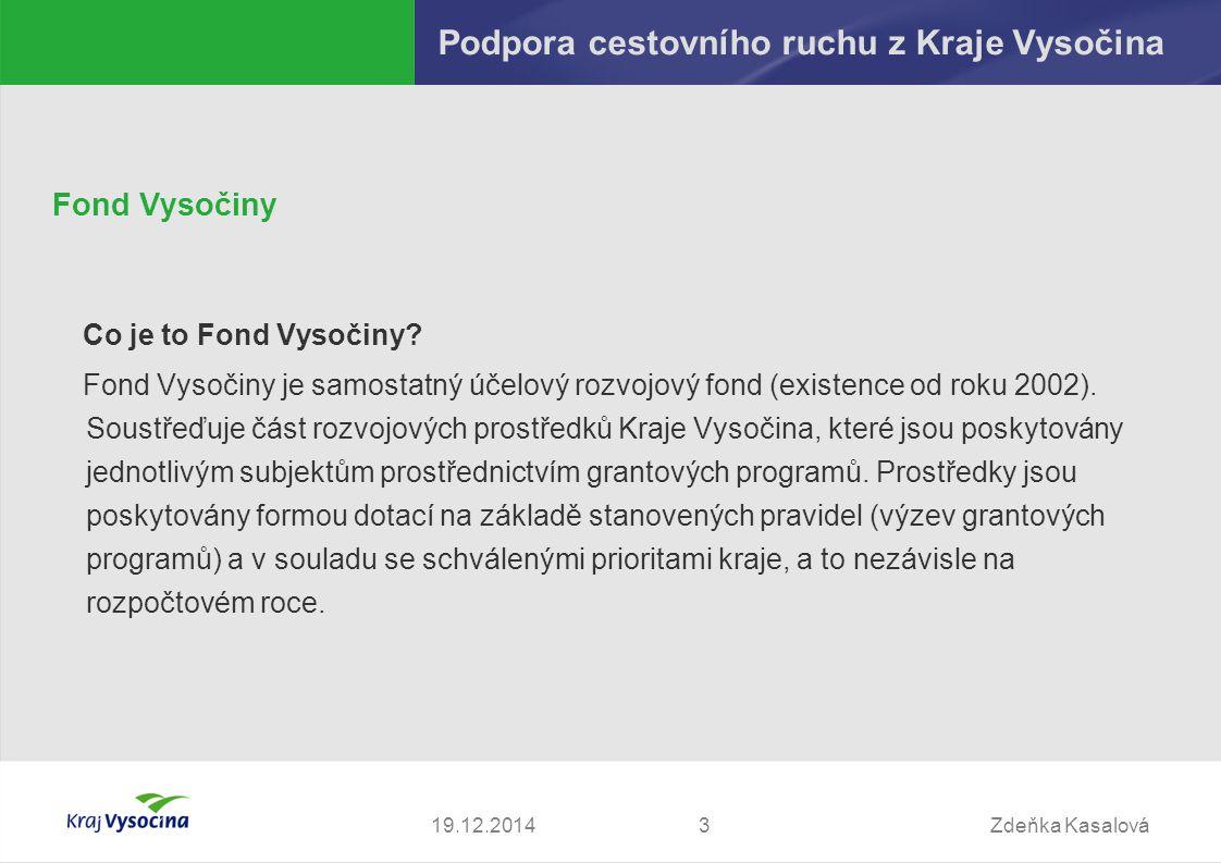 Zdeňka Kasalová319.12.2014 Podpora cestovního ruchu z Kraje Vysočina Fond Vysočiny Co je to Fond Vysočiny.