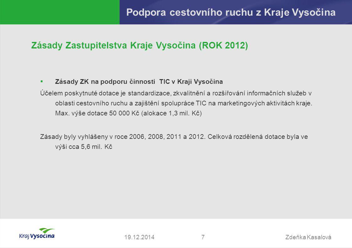 Zdeňka Kasalová719.12.2014 Podpora cestovního ruchu z Kraje Vysočina Zásady Zastupitelstva Kraje Vysočina (ROK 2012)  Zásady ZK na podporu činnosti T