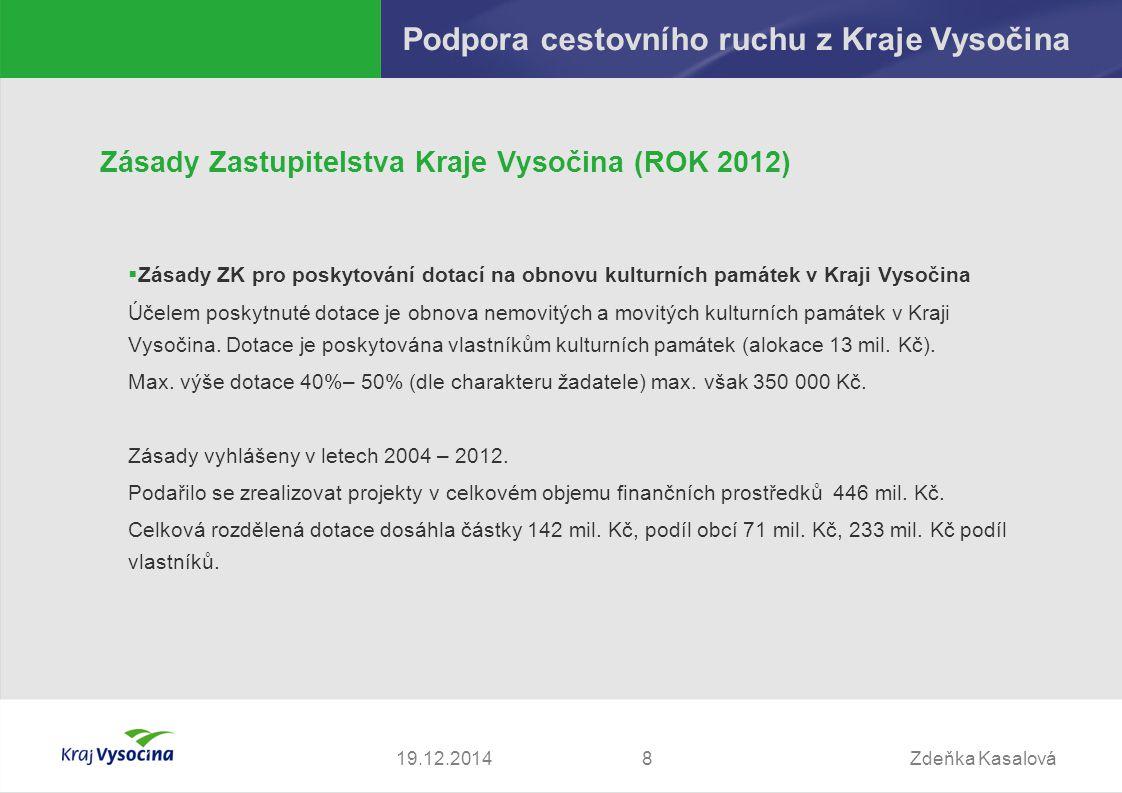 Zdeňka Kasalová819.12.2014 Podpora cestovního ruchu z Kraje Vysočina Zásady Zastupitelstva Kraje Vysočina (ROK 2012)  Zásady ZK pro poskytování dotac
