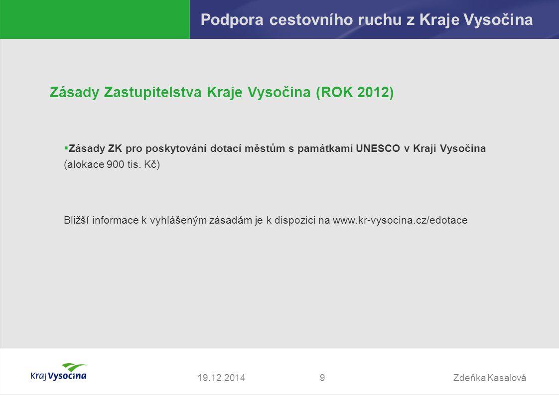 Zdeňka Kasalová919.12.2014 Podpora cestovního ruchu z Kraje Vysočina Zásady Zastupitelstva Kraje Vysočina (ROK 2012)  Zásady ZK pro poskytování dotac
