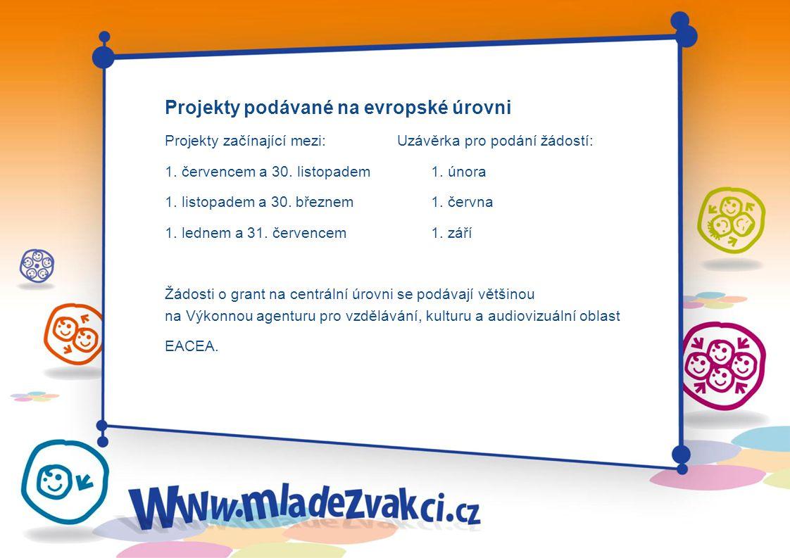 Projekty podávané na evropské úrovni Projekty začínající mezi:Uzávěrka pro podání žádostí: 1.