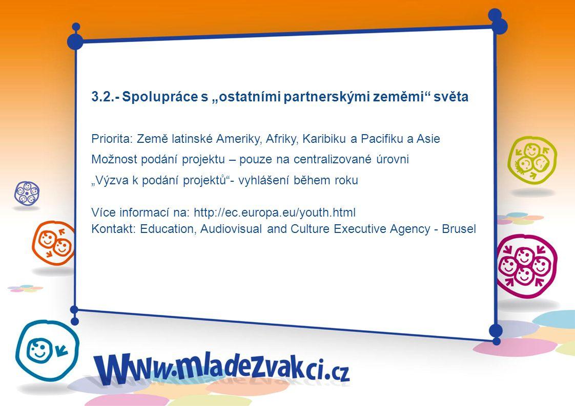 """3.2.- Spolupráce s """"ostatními partnerskými zeměmi světa Priorita: Země latinské Ameriky, Afriky, Karibiku a Pacifiku a Asie Možnost podání projektu – pouze na centralizované úrovni """"Výzva k podání projektů - vyhlášení během roku Více informací na: http://ec.europa.eu/youth.html Kontakt: Education, Audiovisual and Culture Executive Agency - Brusel"""