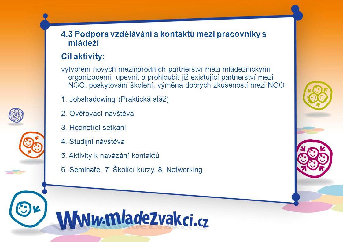 4.3 Podpora vzdělávání a kontaktů mezi pracovníky s mládeží Cíl aktivity: vytvoření nových mezinárodních partnerství mezi mládežnickými organizacemi, upevnit a prohloubit již existující partnerství mezi NGO, poskytování školení, výměna dobrých zkušeností mezi NGO 1.