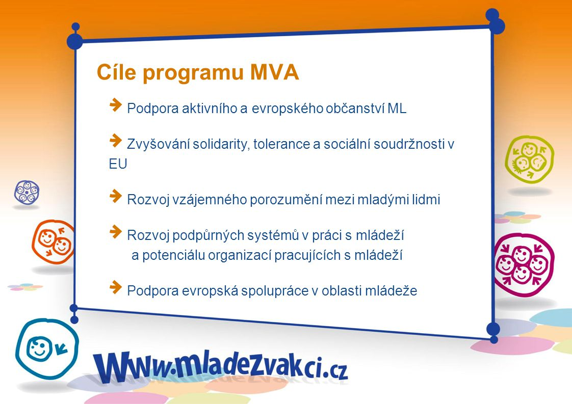 Stálé priority programu Evropské občanství Účast mladých lidí na veřejném životě společnosti (participace) Kulturní rozmanitost Integrace mladých lidí s omezenými možnostmi (sociální inkluze)