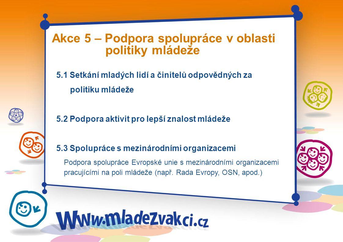 5.1 Setkání mladých lidí a činitelů odpovědných za politiku mládeže 5.2 Podpora aktivit pro lepší znalost mládeže 5.3 Spolupráce s mezinárodními organizacemi Podpora spolupráce Evropské unie s mezinárodními organizacemi pracujícími na poli mládeže (např.