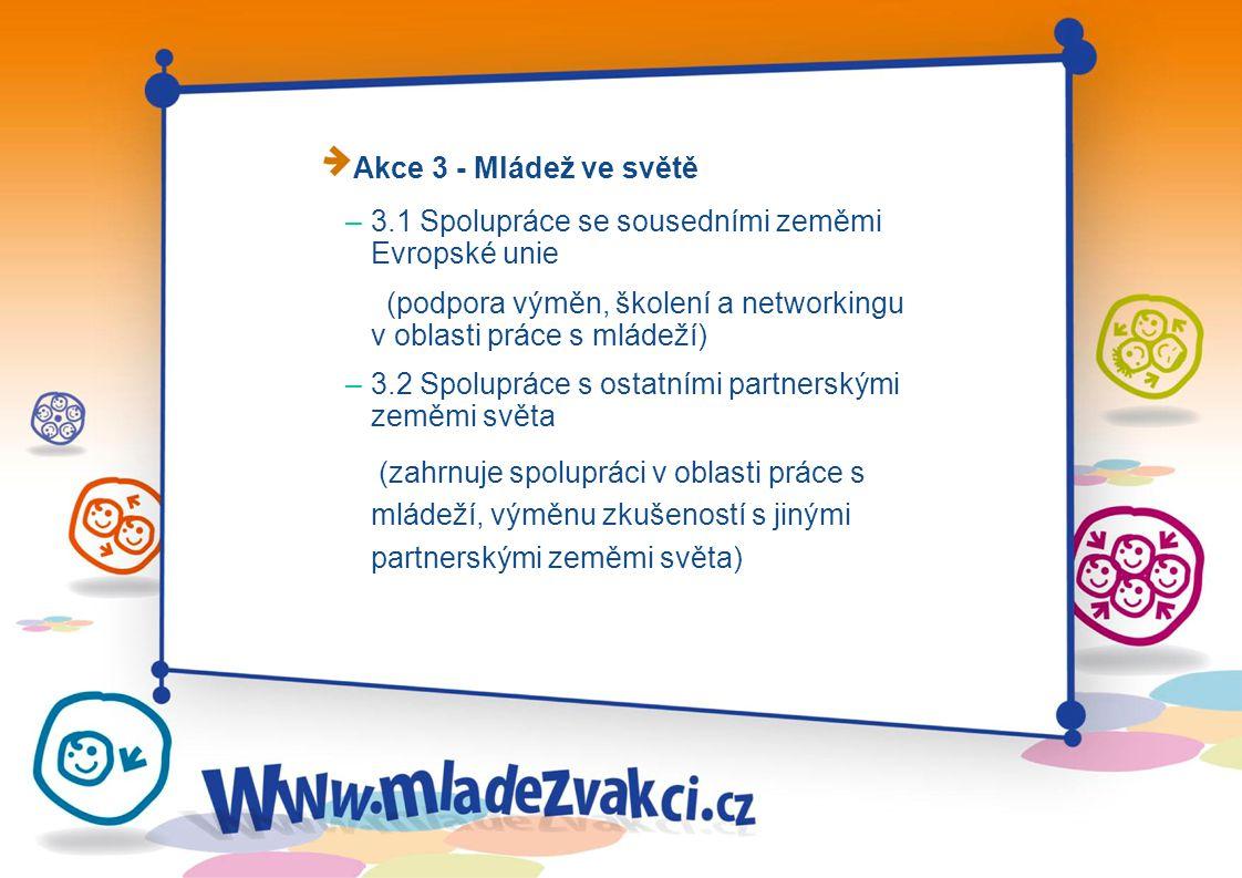 Akce 3 - Mládež ve světě – 3.1 Spolupráce se sousedními zeměmi Evropské unie (podpora výměn, školení a networkingu v oblasti práce s mládeží) – 3.2 Spolupráce s ostatními partnerskými zeměmi světa (zahrnuje spolupráci v oblasti práce s mládeží, výměnu zkušeností s jinými partnerskými zeměmi světa)