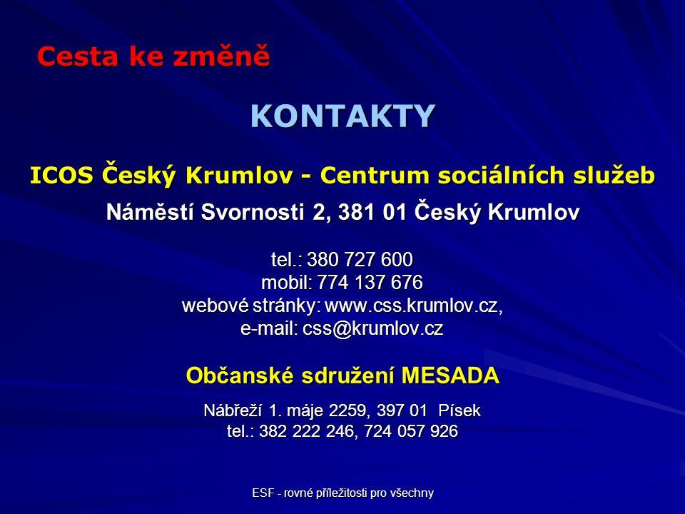 ESF - rovné příležitosti pro všechny KONTAKTY ICOS Český Krumlov - Centrum sociálních služeb Náměstí Svornosti 2, 381 01 Český Krumlov tel.: 380 727 6