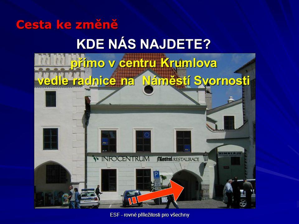 ESF - rovné příležitosti pro všechny KDE NÁS NAJDETE? přímo v centru Krumlova vedle radnice na Náměstí Svornosti Cesta ke změně