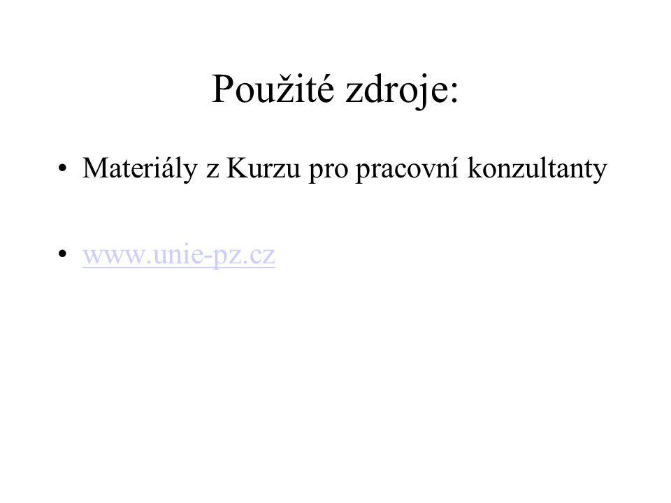 Použité zdroje: Materiály z Kurzu pro pracovní konzultanty www.unie-pz.cz