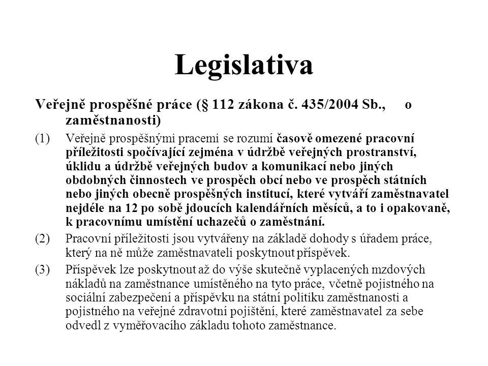 Legislativa Veřejně prospěšné práce (§ 112 zákona č. 435/2004 Sb., o zaměstnanosti) (1)Veřejně prospěšnými pracemi se rozumí časově omezené pracovní p
