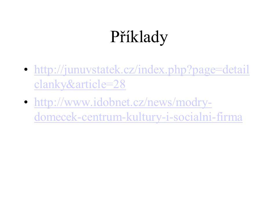 Příklady http://junuvstatek.cz/index.php?page=detail clanky&article=28http://junuvstatek.cz/index.php?page=detail clanky&article=28 http://www.idobnet
