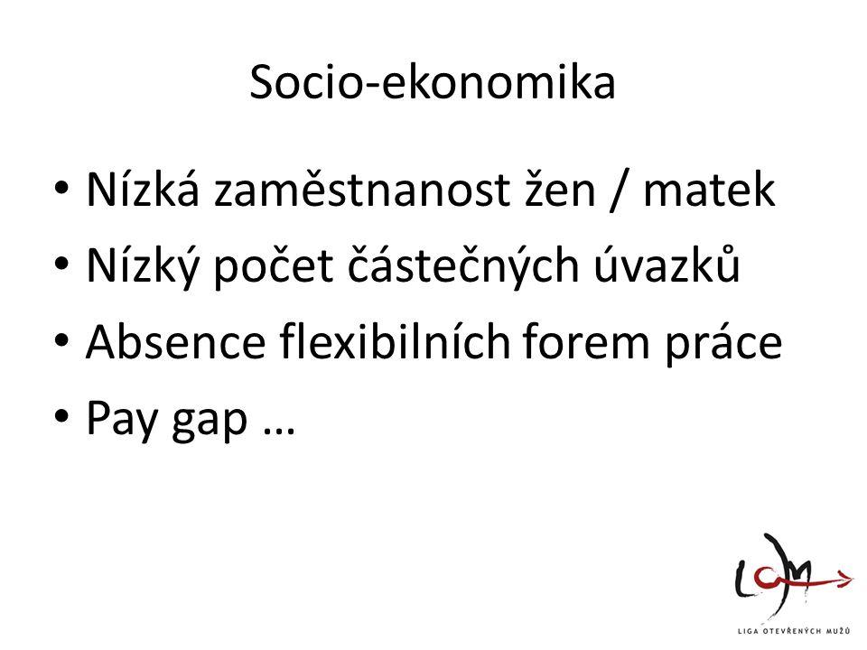Socio-ekonomika Nízká zaměstnanost žen / matek Nízký počet částečných úvazků Absence flexibilních forem práce Pay gap …