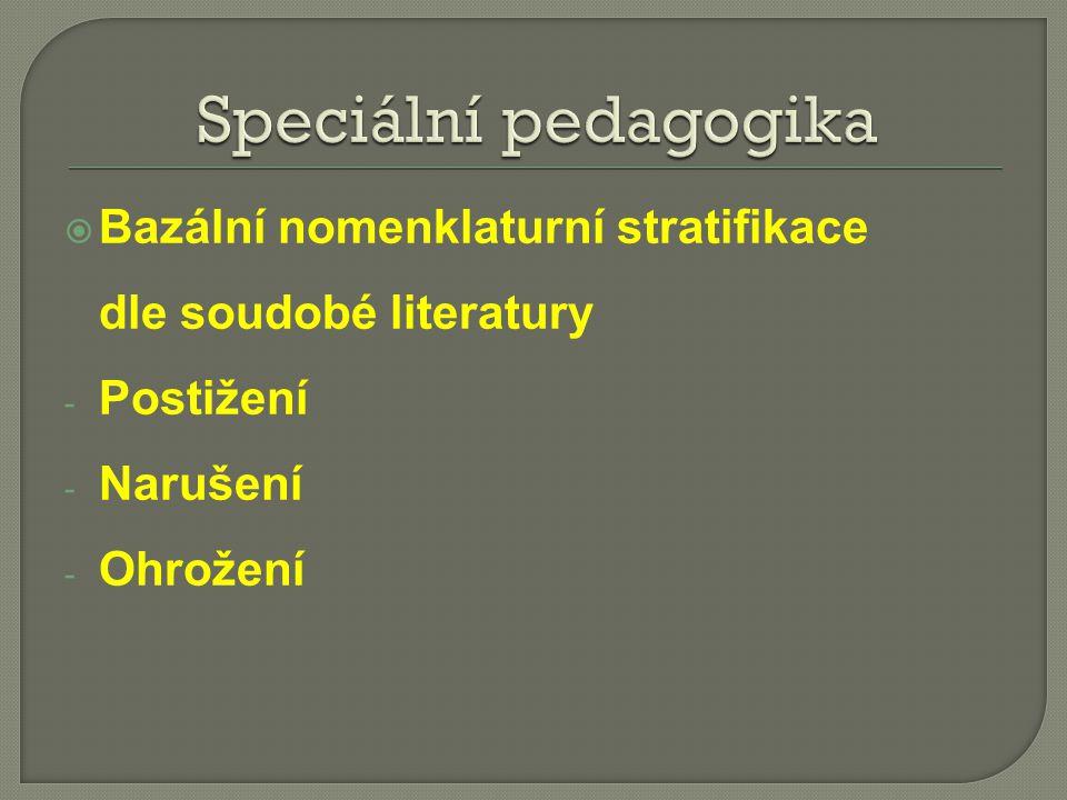  Bazální nomenklaturní stratifikace dle soudobé literatury - Postižení - Narušení - Ohrožení