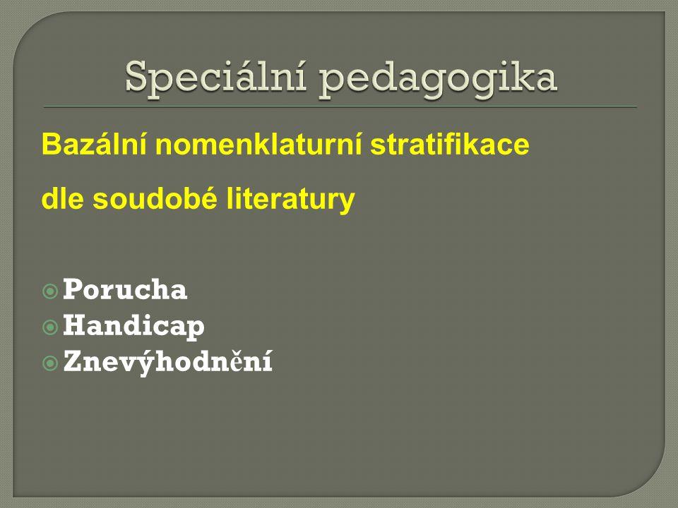 Bazální nomenklaturní stratifikace dle soudobé literatury  Porucha  Handicap  Znevýhodn ě ní