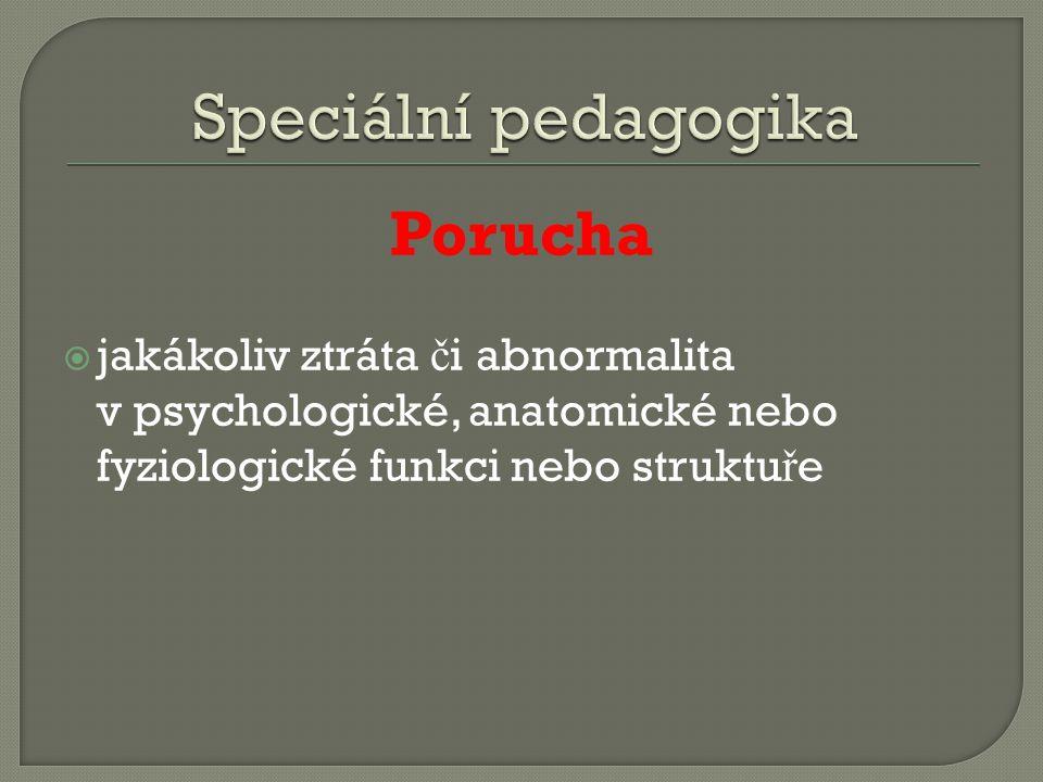 Porucha  jakákoliv ztráta č i abnormalita v psychologické, anatomické nebo fyziologické funkci nebo struktu ř e
