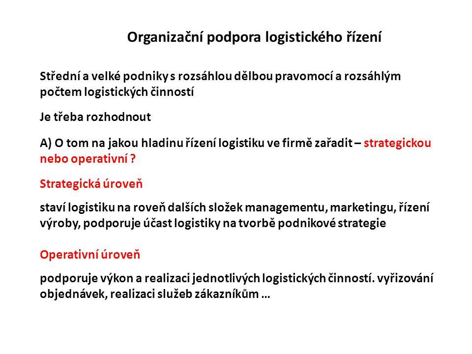 Organizační podpora logistického řízení Střední a velké podniky s rozsáhlou dělbou pravomocí a rozsáhlým počtem logistických činností Je třeba rozhodnout A) O tom na jakou hladinu řízení logistiku ve firmě zařadit – strategickou nebo operativní .