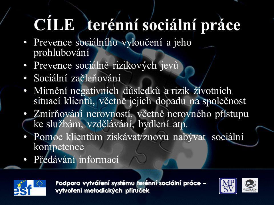 CÍLE terénní sociální práce Prevence sociálního vyloučení a jeho prohlubování Prevence sociálně rizikových jevů Sociální začleňování Mírnění negativní