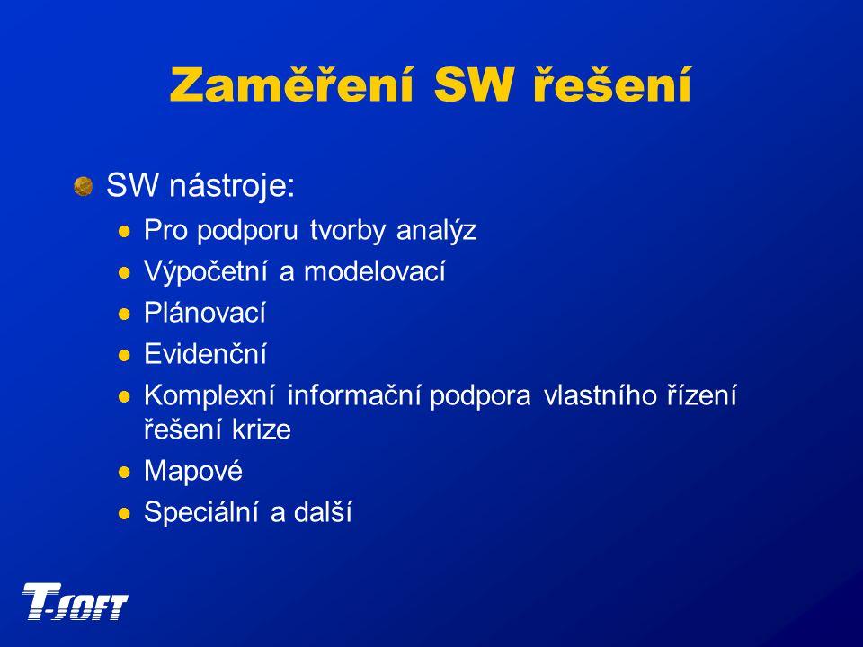 Zaměření SW řešení SW nástroje: Pro podporu tvorby analýz Výpočetní a modelovací Plánovací Evidenční Komplexní informační podpora vlastního řízení řešení krize Mapové Speciální a další