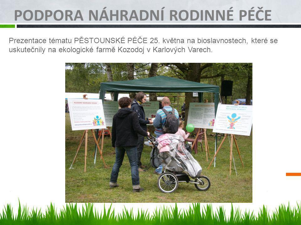 PODPORA NÁHRADNÍ RODINNÉ PÉČE Prezentace tématu PĚSTOUNSKÉ PÉČE 25. května na bioslavnostech, které se uskutečnily na ekologické farmě Kozodoj v Karlo