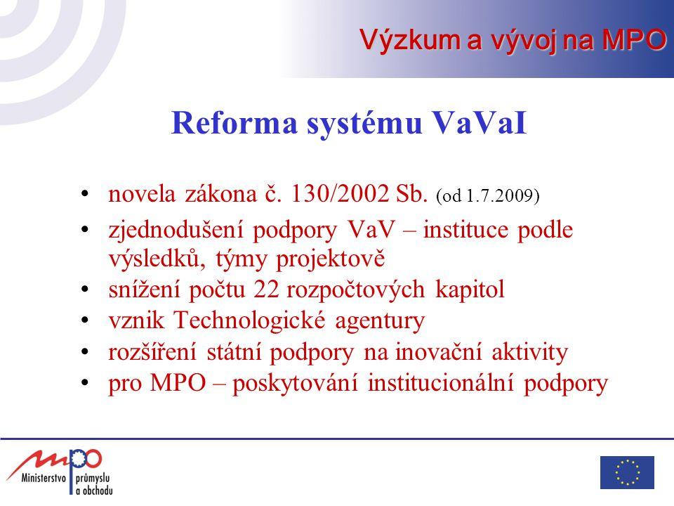 Reforma systému VaVaI novela zákona č. 130/2002 Sb. (od 1.7.2009) zjednodušení podpory VaV – instituce podle výsledků, týmy projektově snížení počtu 2