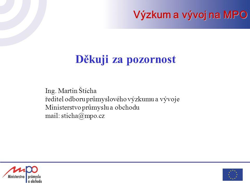 Děkuji za pozornost Ing. Martin Štícha ředitel odboru průmyslového výzkumu a vývoje Ministerstvo průmyslu a obchodu mail: sticha@mpo.cz Výzkum a vývoj