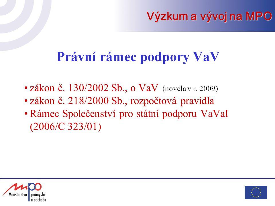 Právní rámec podpory VaV zákon č. 130/2002 Sb., o VaV (novela v r. 2009) zákon č. 218/2000 Sb., rozpočtová pravidla Rámec Společenství pro státní podp