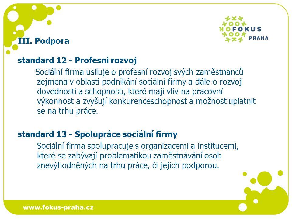 III. Podpora standard 12 - Profesní rozvoj Sociální firma usiluje o profesní rozvoj svých zaměstnanců zejména v oblasti podnikání sociální firmy a dál