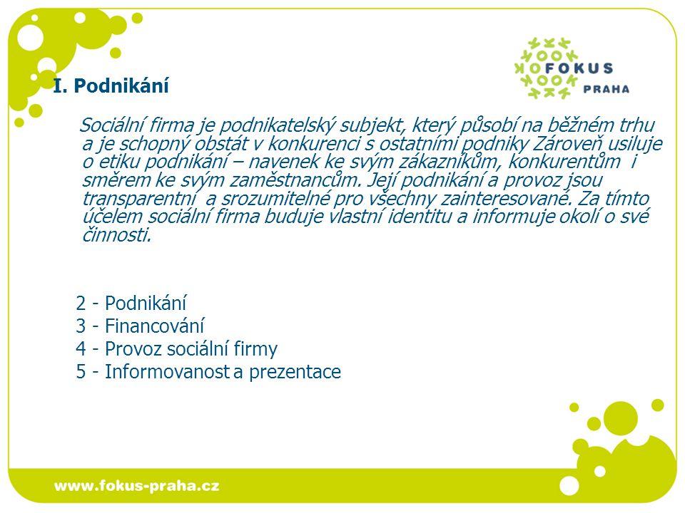 I.Podnikání standard 2 - Podnikání Sociální firma podniká a je schopná obstát na běžném trhu.