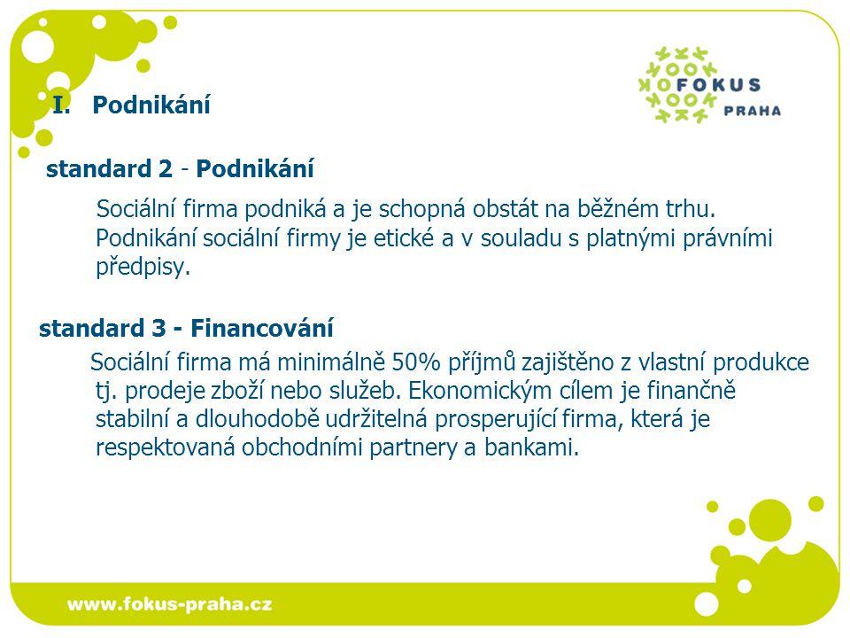 I.Podnikání standard 4 - Provoz sociální firmy Provoz sociální firmy je bezpečný.