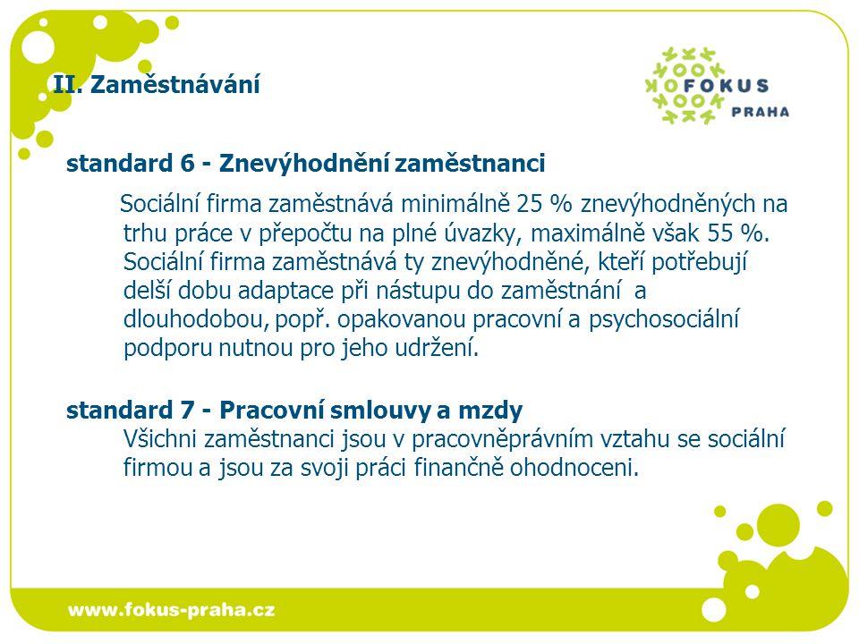 II. Zaměstnávání standard 6 - Znevýhodnění zaměstnanci Sociální firma zaměstnává minimálně 25 % znevýhodněných na trhu práce v přepočtu na plné úvazky