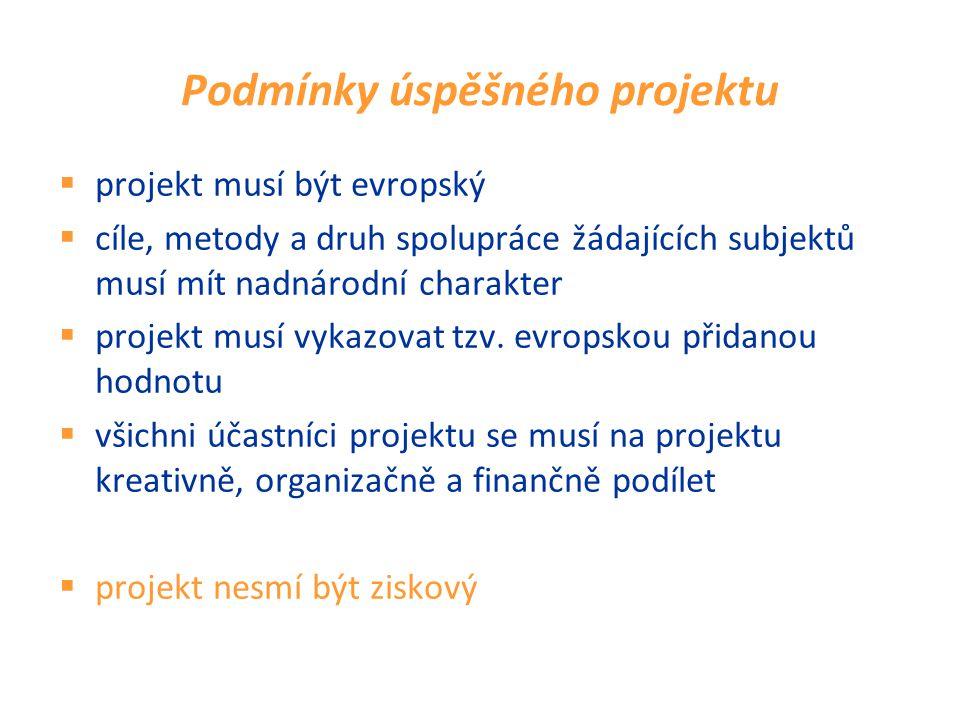 Podmínky úspěšného projektu  projekt musí být evropský  cíle, metody a druh spolupráce žádajících subjektů musí mít nadnárodní charakter  projekt musí vykazovat tzv.