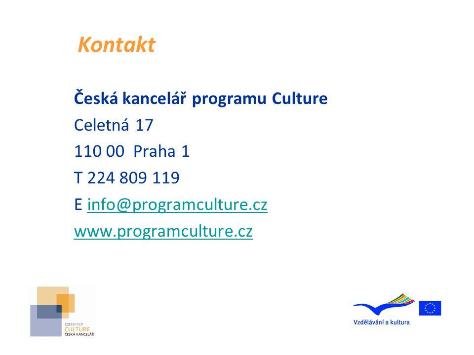 Kontakt Česká kancelář programu Culture Celetná 17 110 00 Praha 1 T 224 809 119 E info@programculture.czinfo@programculture.cz www.programculture.cz