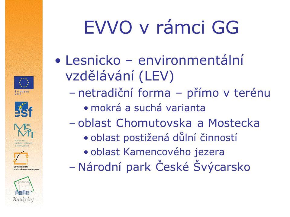 EVVO v rámci GG Lesnicko – environmentální vzdělávání (LEV) –netradiční forma – přímo v terénu mokrá a suchá varianta –oblast Chomutovska a Mostecka o