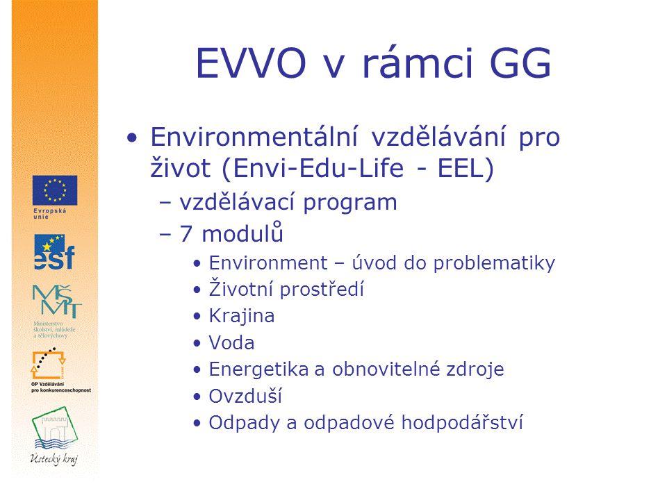 EVVO v rámci GG Environmentální vzdělávání pro život (Envi-Edu-Life - EEL) –vzdělávací program –7 modulů Environment – úvod do problematiky Životní prostředí Krajina Voda Energetika a obnovitelné zdroje Ovzduší Odpady a odpadové hodpodářství
