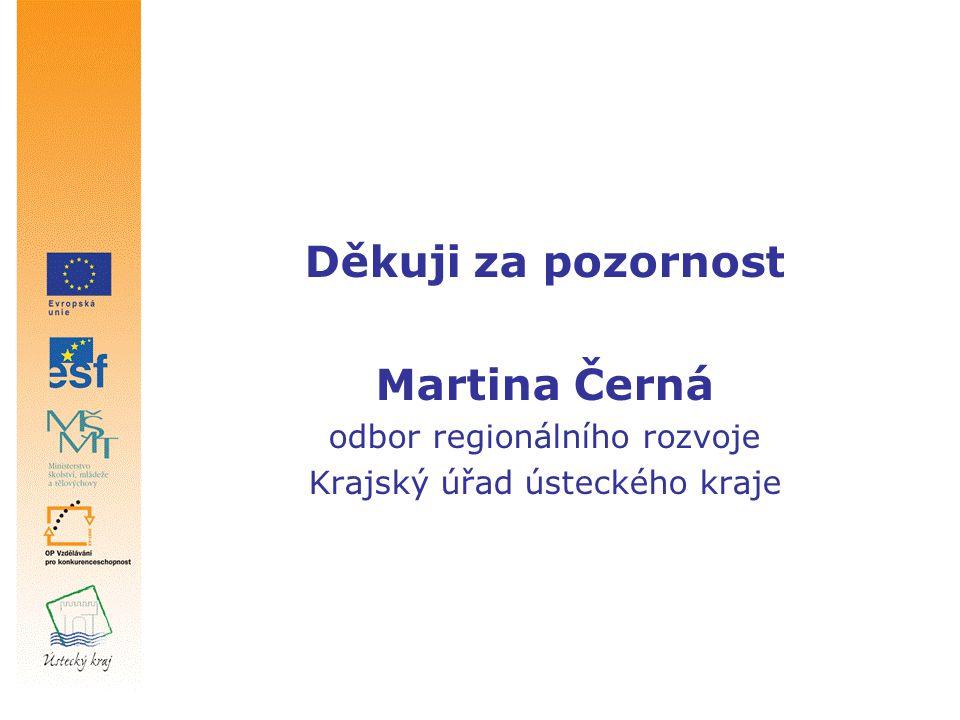Děkuji za pozornost Martina Černá odbor regionálního rozvoje Krajský úřad ústeckého kraje