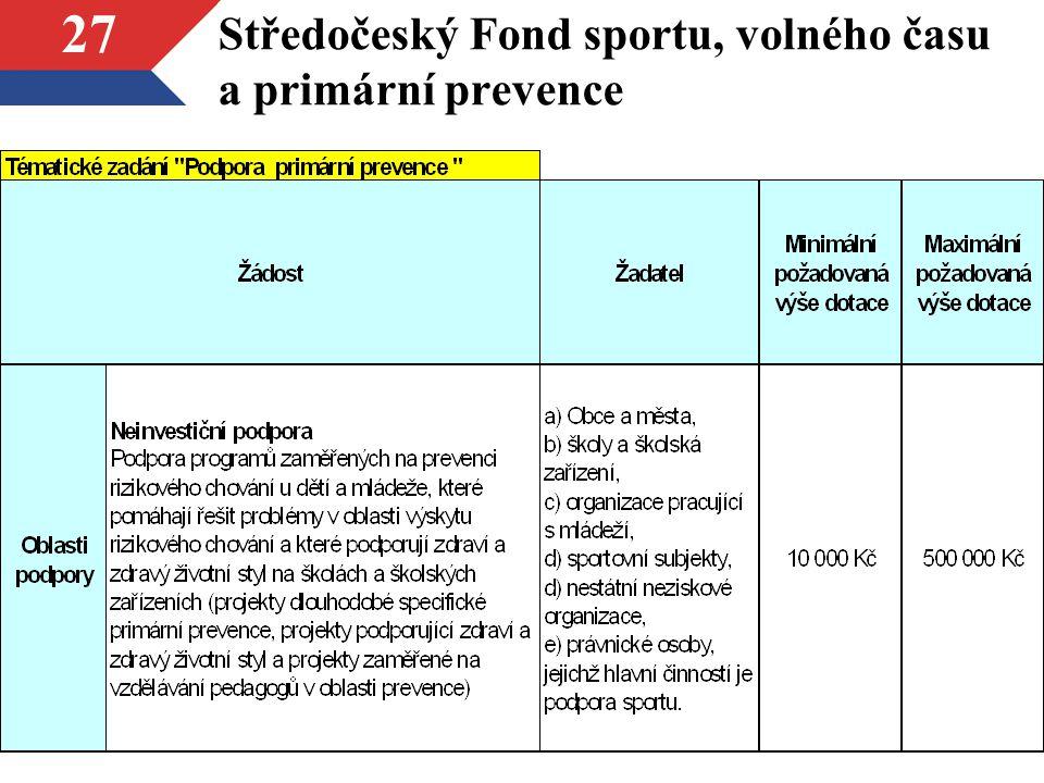 27 Středočeský Fond sportu, volného času a primární prevence